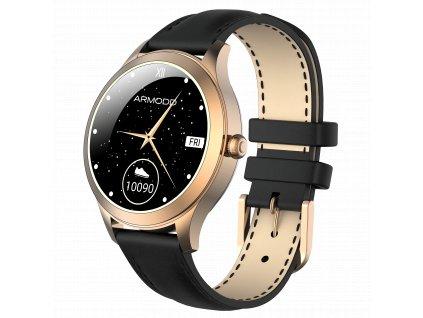 ARMODD Candywatch Premium 2 zlatá s černým koženým řemínkem