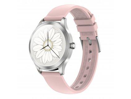 ARMODD Candywatch Premium 2 stříbrná s růžovým řemínkem