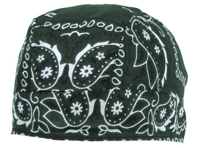 Šátek (BANDANA) olivová barva, se vzorem
