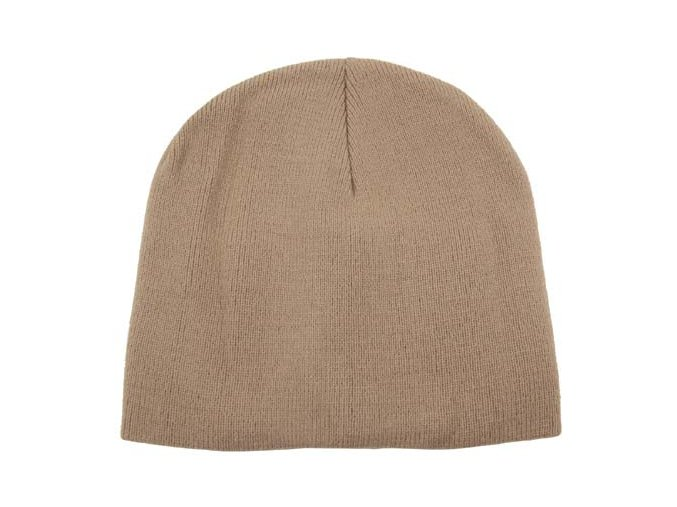 "Pletená čepice ""BEANIE"" khaki jemně pletená Acryl krátká"