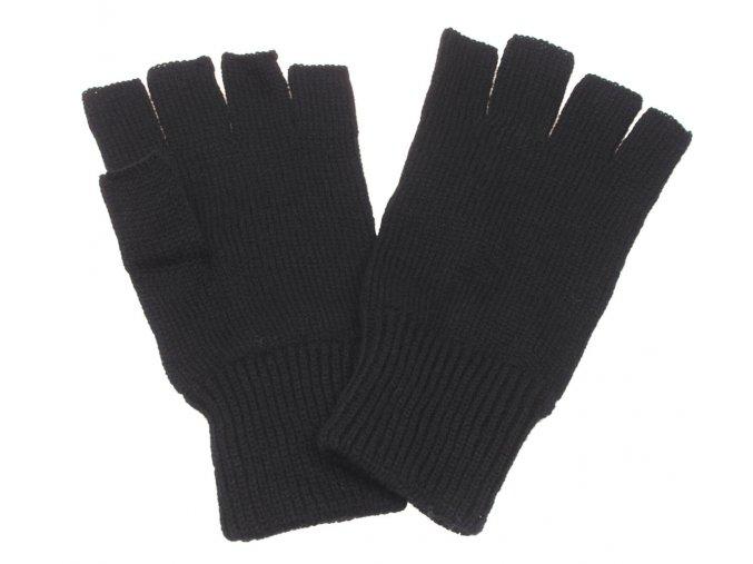 Pletené rukavice černé barva bez prstů