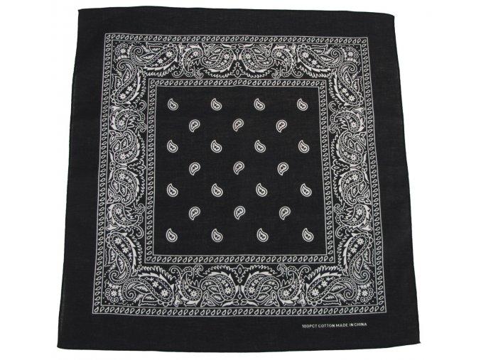 Šátek černo-bílá barva 55 x 55 cm bavlna