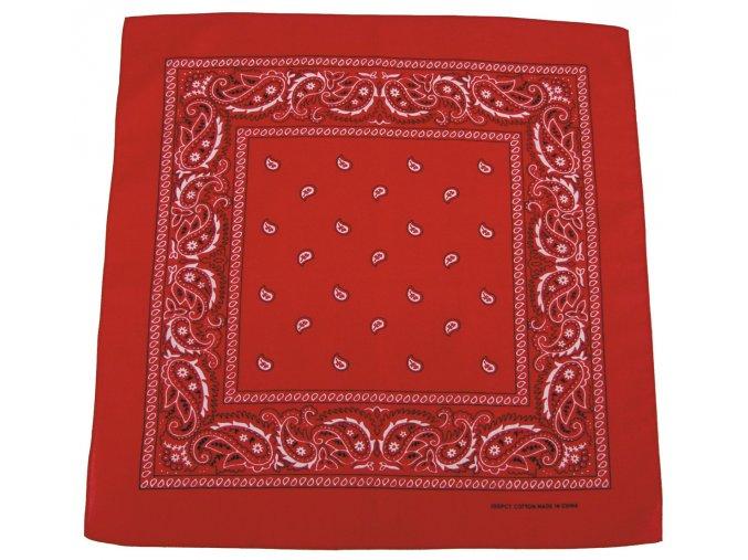 Šátek červeno-bílá barva 55 x 55 cm bavlna