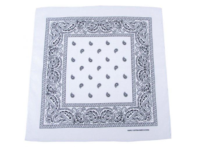 Šátek bílo-černá barva 55 x 55 cm bavlna