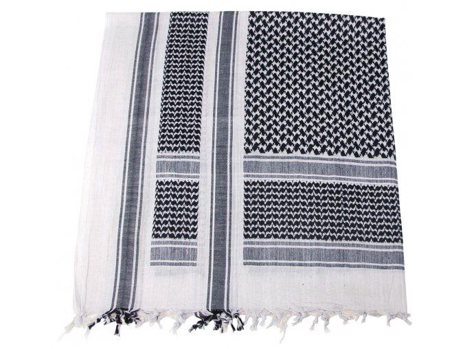 Arabský šátek s třásněmi (palestina, arafat) černo-bílý 115x110cm