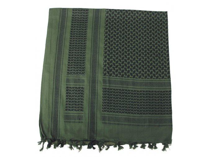 Arabský šátek s třásněmi (palestina, arafat) olivovo-černý 115x110cm