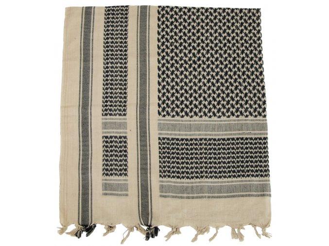 Arabský šátek s třásněmi (palestina, arafat) béžovo-černý 115x110cm