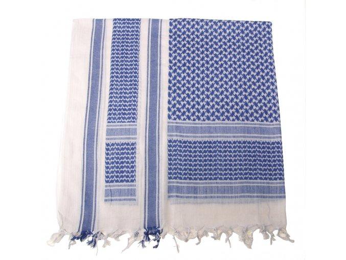 Arabský šátek s třásněmi (palestina, arafat) modro-bílý 115x110cm