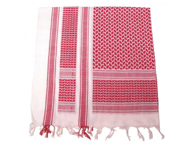 Arabský šátek s třásněmi (palestina, arafat) červeno-bílý 115x110cm