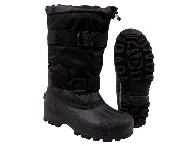 Mrazuvzdorné zimní boty Fox -40 °C s pryžovou podrážkou černé