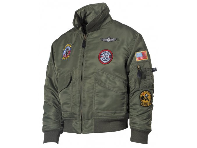 """US dětská bunda """"bomber"""" CWU olivová s leteckými nášivkami"""