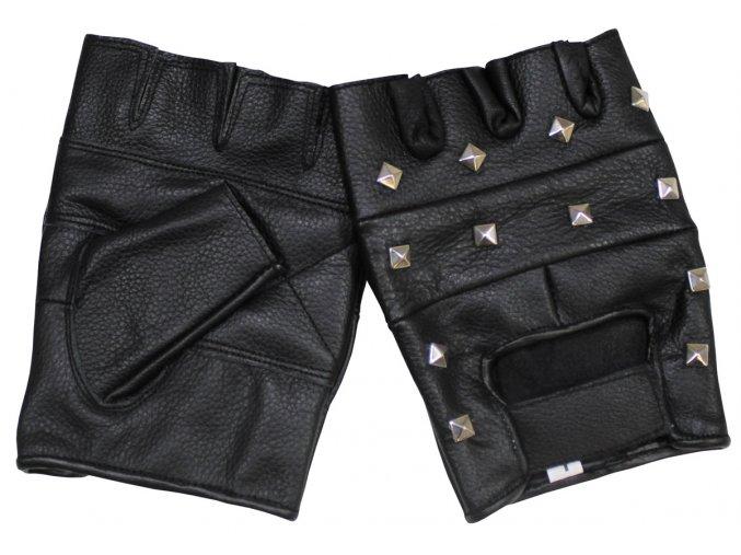Motorkářské kožené rukavice bez prstů s okrasnými nýty černé