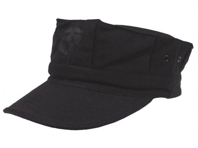 US mariňácká čepice s kšiltem černá s potiskem