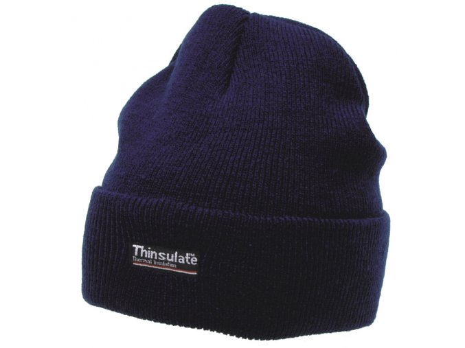 Čepice ohrnovací Acryl pletená krátká modrá Thinsulate