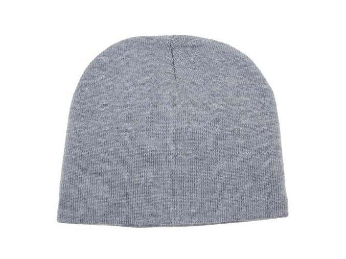 Pletená čepice BEANIE šedá jemně pletená Acryl krátká