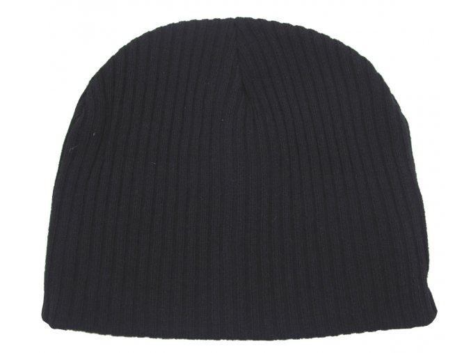 Pletená čepice  BEANIE Acryl černá extra krátká
