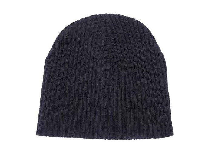 Pletená čepice BEANIE Acryl modrá extra krátká