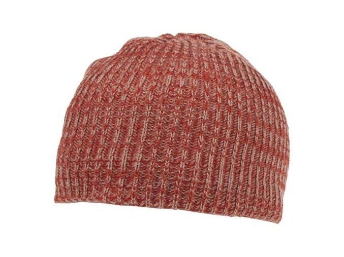Pletená čepice BEANIE melír-červená barva