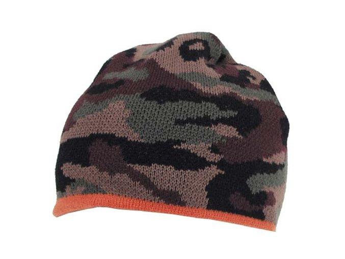 Čepice, Acryl jemně pletená tarn-oranžová
