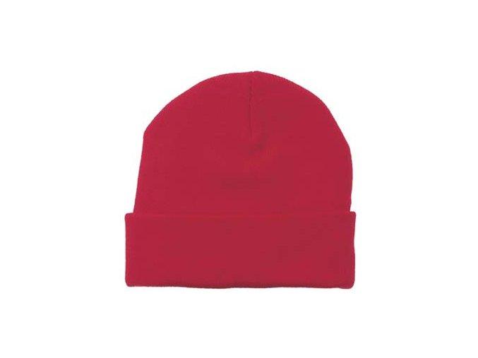 Čepice ohrnovací Acryl červená jemně pletená