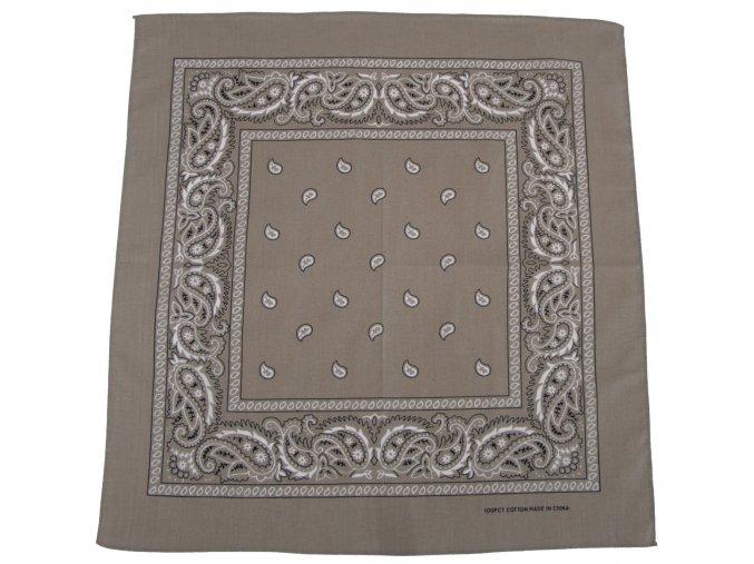 Šátek béžovo-černá barva 55 x 55 cm bavlna