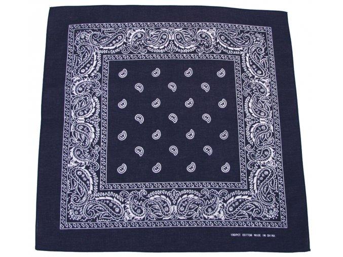 Šátek námořní modř-bílá 55 x 55 cm bavlna