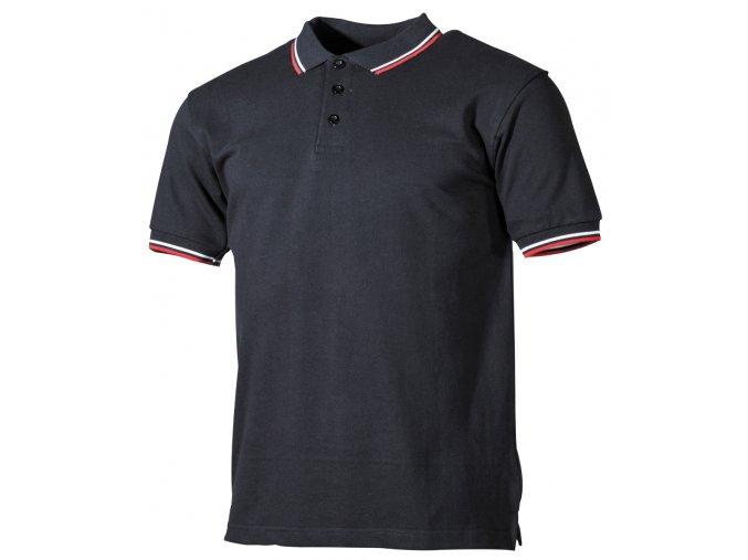 Tričko černé s límečkem, krátké rukávy, bílo-červené proužky