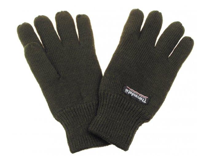 Pletené rukavice, Thinsulate-podšívka, olivové