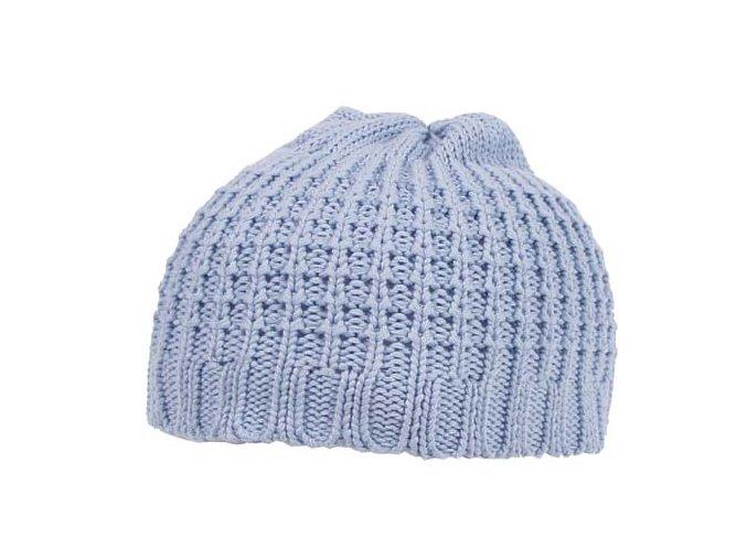 Pletená čepice BEANIE hrubě pletená bavlna krátká bílá