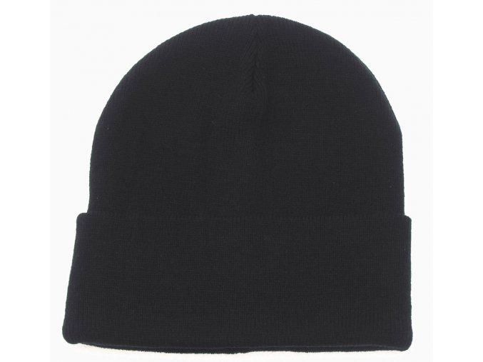 Čepice pletená Acryl černá jemně pletená
