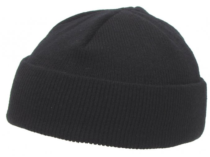 Čepice pletená Acryl černá jemně pletená extra krátká