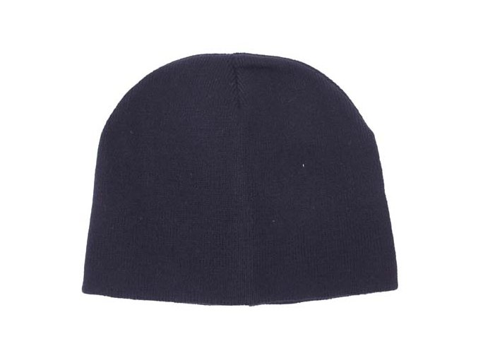 Pletená čepice BEANIE modrá jemně pletená Acryl krátká