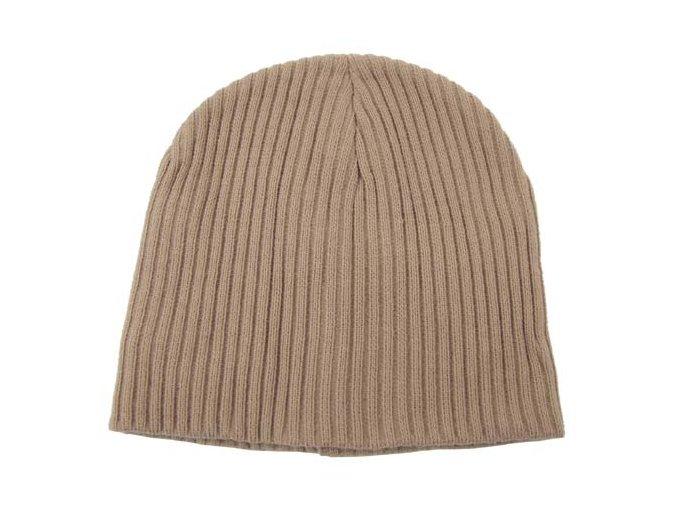 Pletená čepice BEANIE Acryl khaki extra krátká