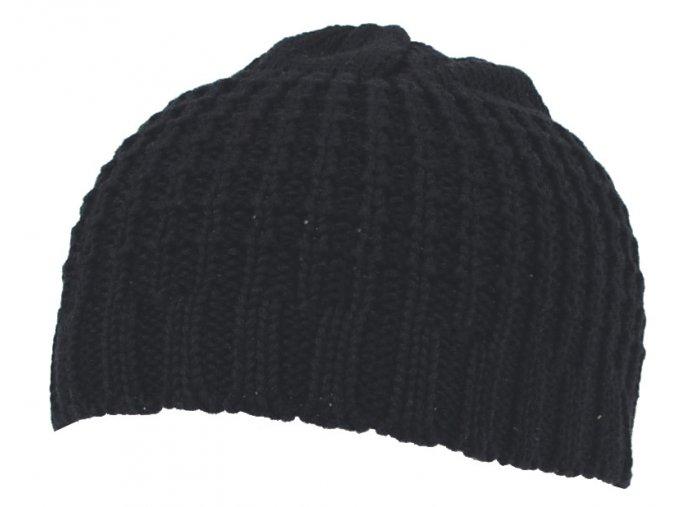 Pletená čepice BEANIE hrubě pletená bavlna krátká černá