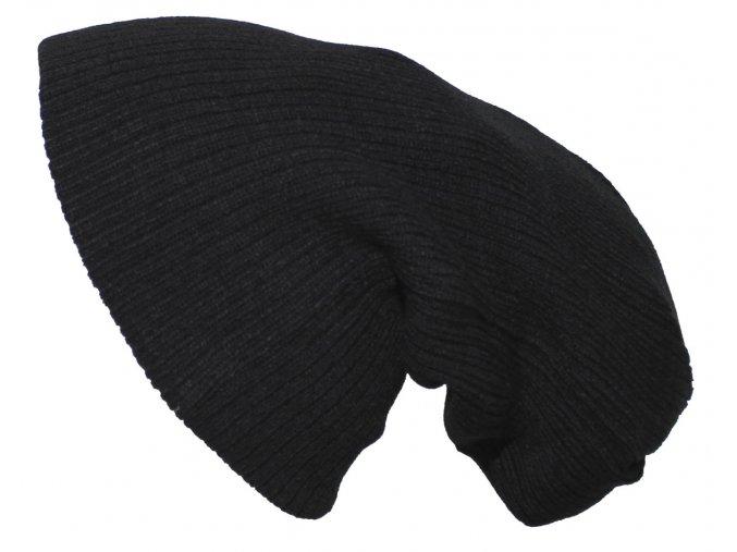 Pletená čepice BEANIE černá dlouhá