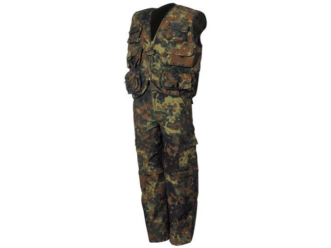 Dětská uniforma flecktarn vesta a kalhoty s odnímatelnými nohavicemi