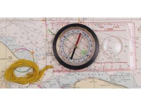Školní kompas (buzola) průhledný s lupou a měřítkem
