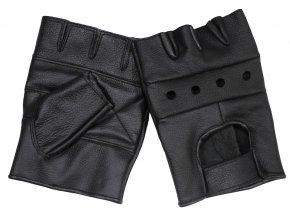 Motorkářské kožené rukavice bez prstů bez nýtů černé
