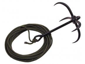 Vrhací kotvička, černá barva, výška 26 cm, průměr 22 cm, 10 m lano, olivová barva