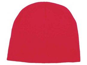 Pletená čepice BEANIE červená jemně pletená Acryl krátká