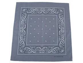 Šátek šedo-černá barva 55 x 55 cm,bavlna