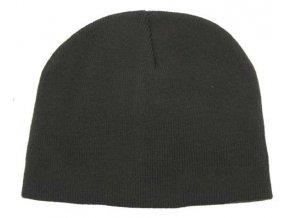 Pletená čepice BEANIE černá jemně pletená Acryl krátká