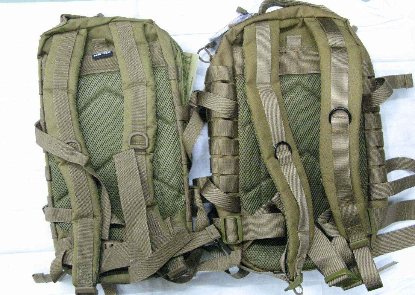 zadní strana batohu