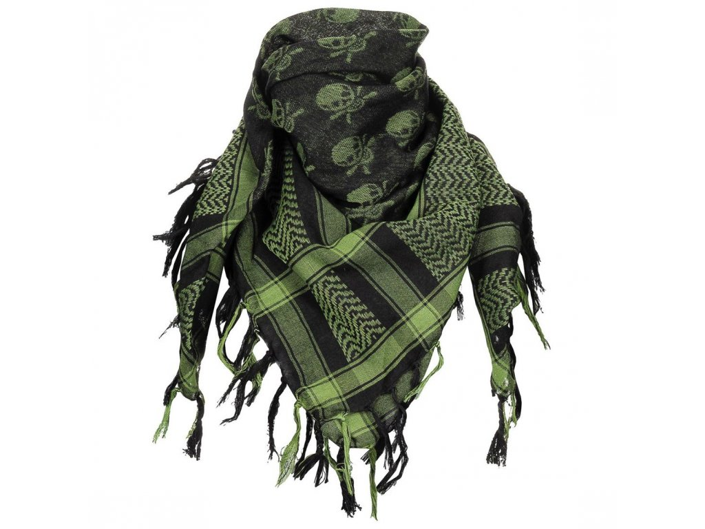 Šátek Max-Fuchs SHEMAGH s lebkami Olive/Černá