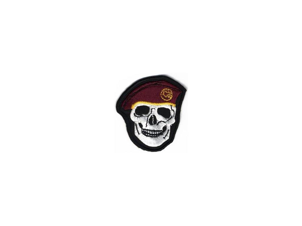 Nášivka Navys lebka tmavě Červená