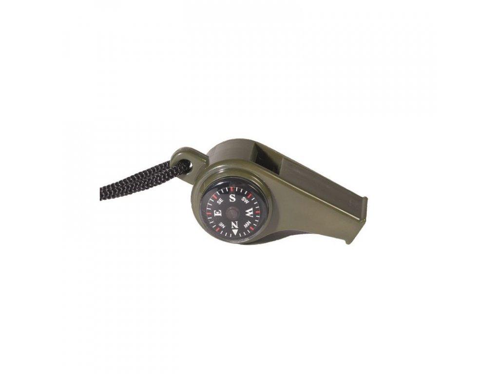 Píšťalka MIL-TEC signální s kompasem a teploměrem Olive