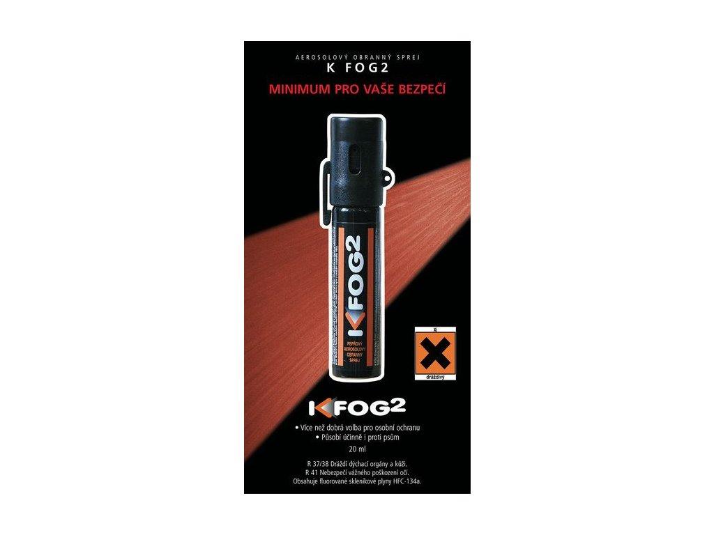Pepřový obranný sprej K-FOG2 aerosolový 20 ml s klipem