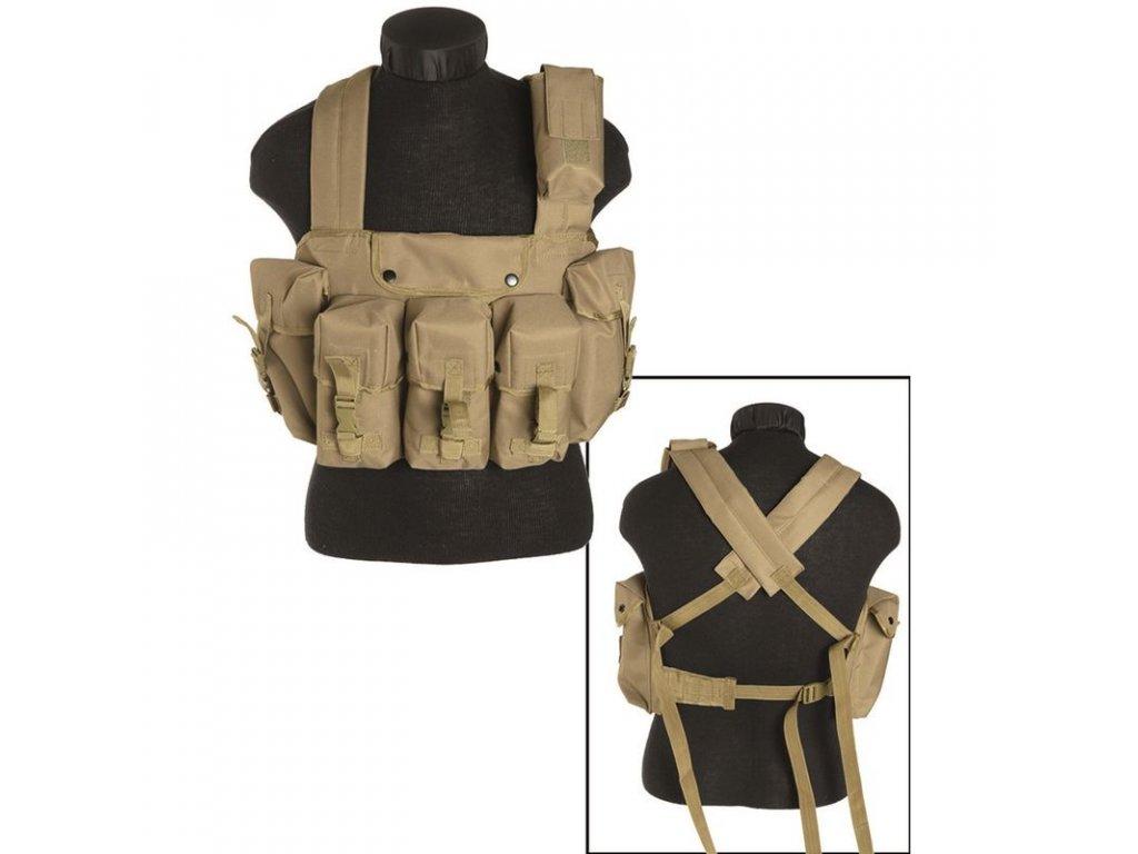 """Taktická vesta """"bandalír"""" 6 kapes Coyote"""