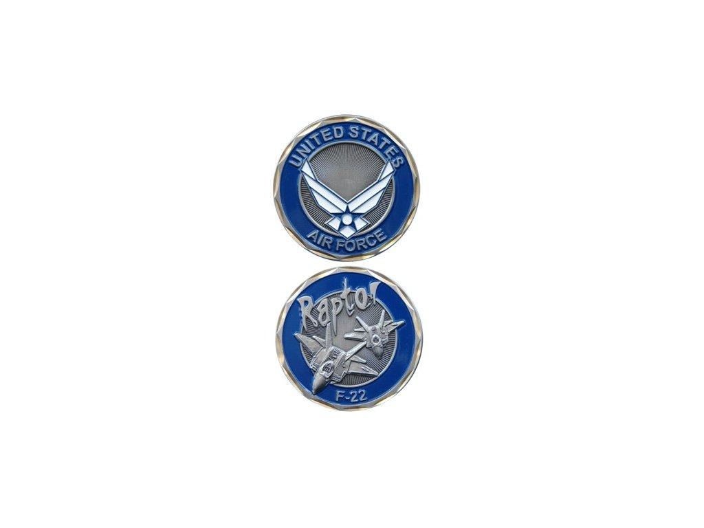 Pamětní mince E.C. Air Force F-22 Raptor