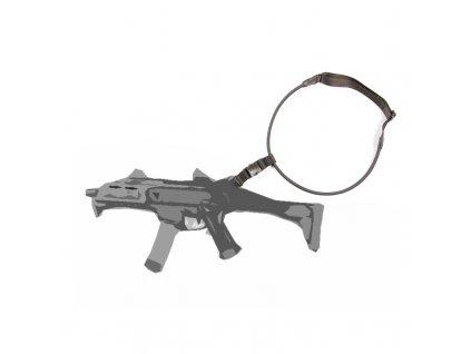 Popruh na zbraň univerzální 1 bodový elastický ČERNÝ
